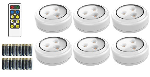 Brilliant Evolution BRRC135 Wireless LED Puck Light 6 Pack With Remote Control - Operates On 3 AA Batteries - Kitchen Under Cabinet Lighting