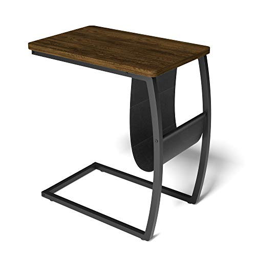 Roolee Side Table, Sofa End Tables Living Room, Vintage Accent C Table with Side Pocket for Coffee Laptop, Dark Walnut
