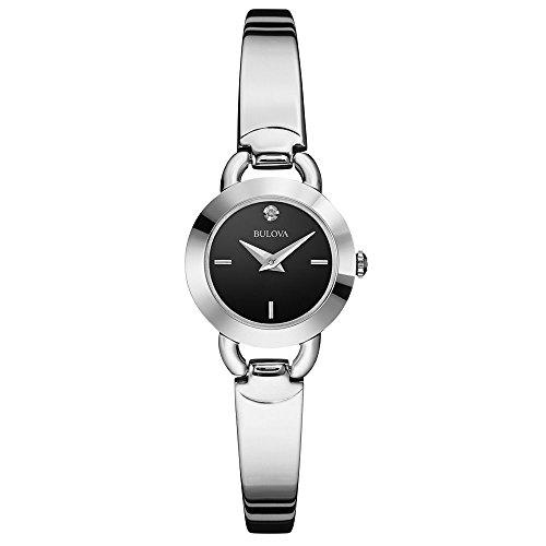 Bulova 96P155 Ladies Diamonds Black Silver Bangle Watch