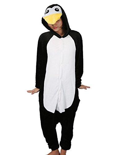 LATH.PIN Jumpsuit Tier Karton Fasching Halloween Kostüm Sleepsuit Cosplay Fleece-Overall Pyjama Schlafanzug Tierkostüme, M, Pinguin