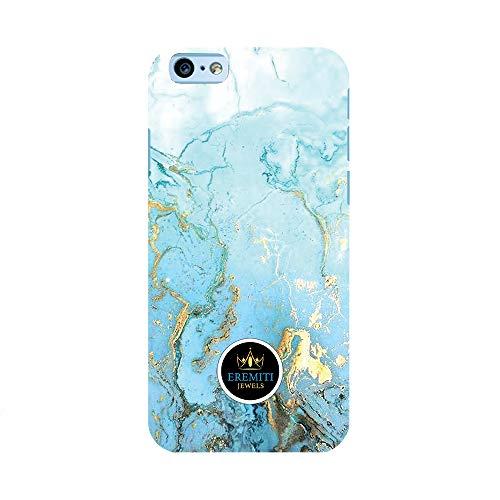 EREMITI JEWELS Cover Personalizzata Effetto Marmo Bianco/Azzurro/Oro Marble Effect White/Blue Sky/Gold Smartphone iPhone 5 5C 6 6S 6 Plus 6S Plus 7 7PLUS 8 8PLUS X (iPhone 6)