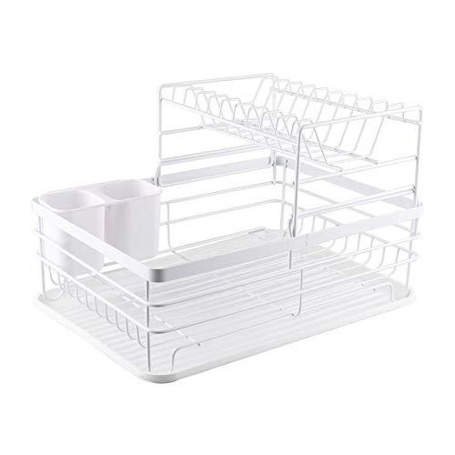 asx Estante dispensador para secar platos, escurridor, 2 capas, utensilios de cocina, utensilios de cocina, para cuencos, palillos, estante dispensador (color: blanco)