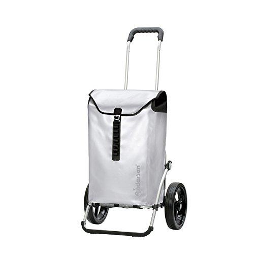 Andersen Shopper Royal mit 3-Speichenrad und Tasche Ortlieb 49 Liter silber