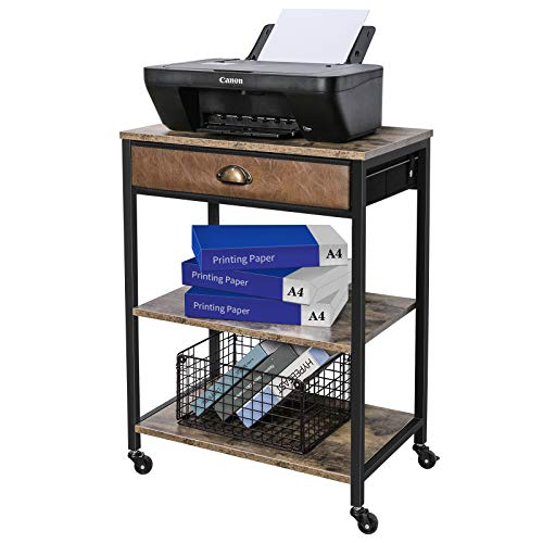 X-cosrack Deskside Mobile Printer Stand with Storage Drawer, 3 Tier Printer Table Cart with Wheel,Workspace Desk Organizer Shelf for Home Office, Rustic Brown