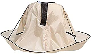 Convenient Soft Hair Cutting Cape Umbrella style Nylon Brown for Salons/Barbers/Home use, Do it Yourself Mess Fee – For all Ages and Stages (brown)