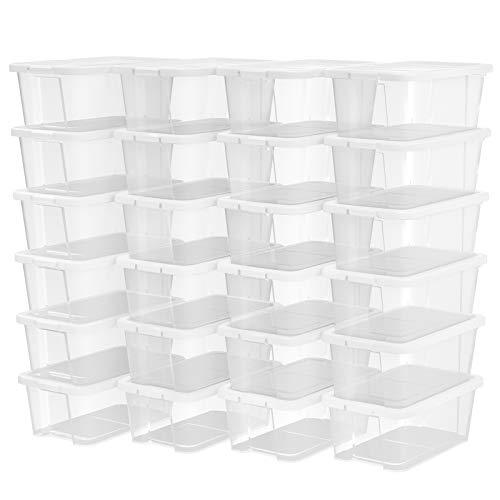 SONGMICS 24er Set Schuhboxen Aufbewahrungsboxen für Schuhe Schuhaufbewahrung Speicherbox Transparent Mit Deckel Kunststoff 35 x 20 x 12,5 cm (B x H x T) LSP24WT