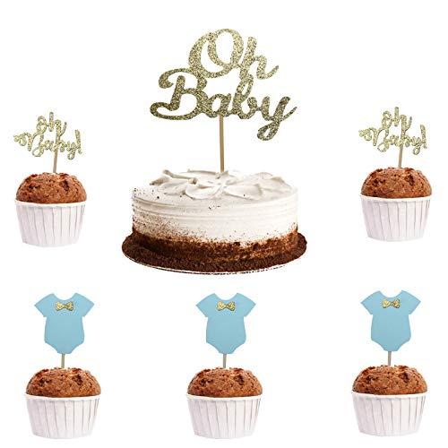 Babyparty Tortendeko OH Baby Kuchen Dekorationen 25 PCS Jungen oder Mädchen Cupcake Toppers Glitter Bowknot Jumpsuit Cupcake Geschlecht enthüllen Dekorationszubehör(Großes Blau)