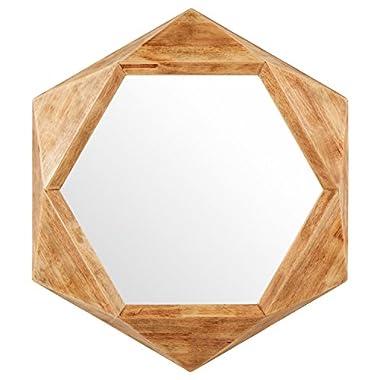 Rivet Modern Hexagon Wood Frame Mirror, 30  H, Natural