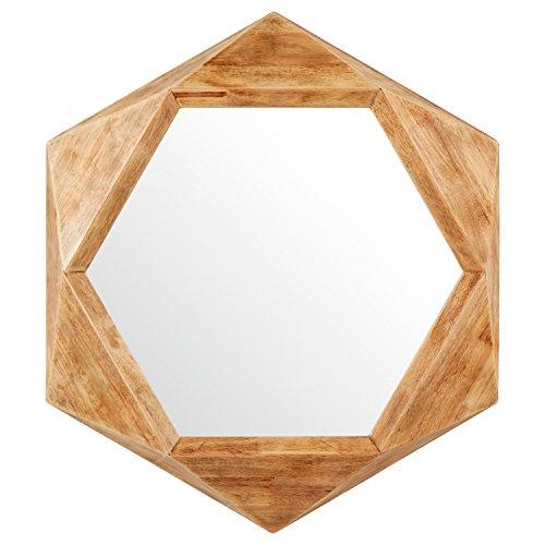 Amazon Brand – Rivet Modern Hexagon Wood Frame Hanging Wall Mirror, 30 Inch Height, Natural