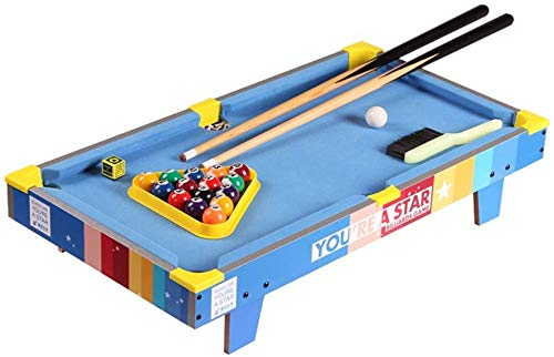 LINANNAN Mesa de Juego Creativa combinación de Mesa Mesa de Billar Tacos de Billar de Mesa Piscina Conjunto Juegos de Billar El Juego Incluye Pelotas de Juego (Color, Azul, tamaño, 69.5x13.5x37cm).
