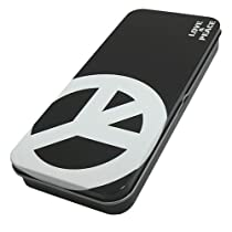 《ブラックCNDピース/LOVE & PEACE》ブリキ缶ペンケース(ふでばこ)☆文房具通販