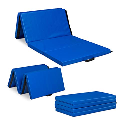 Relaxdays Colchoneta de gimnasia plegable de 200 x 100 cm de grosor, 5 cm de grosor, ampliable, con asas, impermeable, color azul, 10028716_45