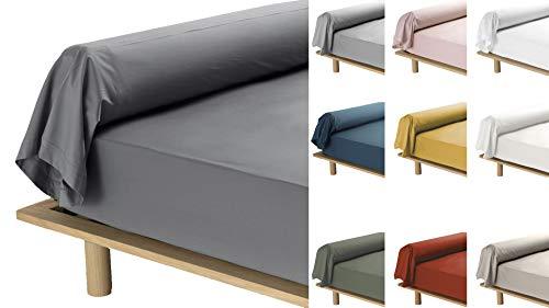 Funda de almohada de 10 colores diferentes, 85 x 185 cm, percal de 78 hilos, color gris antracita