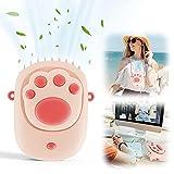 EASTLION Ventilador de Cuello Portátil,Mini Ventilador de Mano USB ,Ventilador de Escritorio Recargable de 3 Velocidades para el Oficina, Hogar, Viajes, Exterior(Rosa)