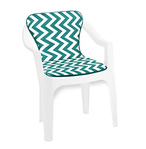 Dehor - Cojín para silla Zig Zag suave para interior y exterior, modelo Violino 11D verde