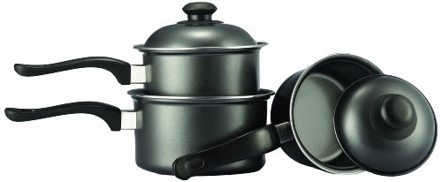 Everyday KC1009 3 Pack Pan Set 14 cm, 16 cm and 18 cm with Lids, Graphite