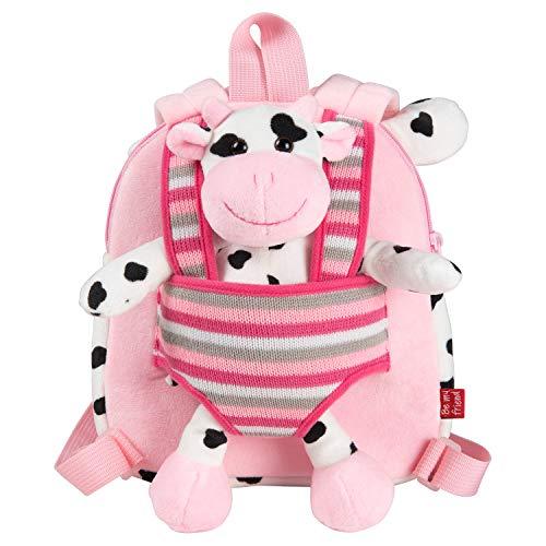 PERLETTI Mochila Infantil Pequeña de Vaca de Peluche: Bolso para Niños Niñas 3 4 5