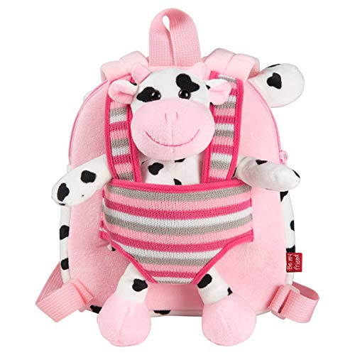 PERLETTI Plush Cow Backpack for Toddler - Children 3 4 5 Years Daypack and Removable Soft Stuffed Animal - Fluffy Cuddly Toy and Baby Kid Handbag for Preschool Kindergarten Travel 22x25x3 cm(Cow)