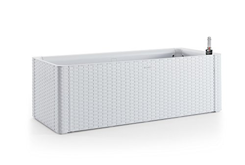 XL Pflanzkasten im Rattan-Design aus Kunststoff in Weiß. Mit Wasserspeicher und Wasserstandsanzeige. Maße BxTxH in cm: 100 x 43 x 33 cm.