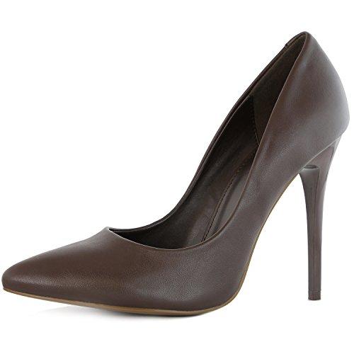 DailyShoes Pump Shoes for Women High Heel Women's Paris-01 Stiletto Pumps High Low Heel Stilettos Closed Pointed Toe Dress Pump Shoes Brown Pu 11