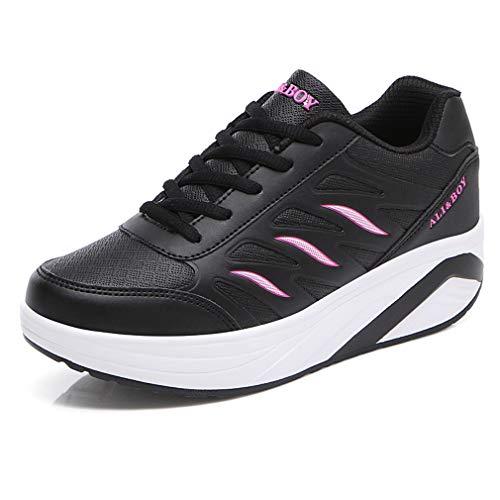 Solshine Damen Mädchen Plateau mit Keilabsatz Walkmaxx Schuhe Runners Turnschuhe Fitnessschuhe Schwarz3 38EU