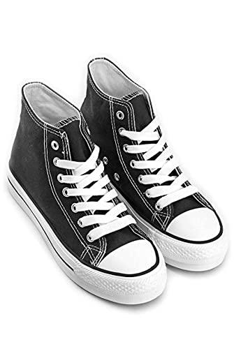 Power Woman 3410. Zapatillas Mujer, Zapatillas Lona, Deportivas Mujer, Bambas Mujer, Zapatillas Plataforma, CTAS, Deportivas Plataforma, Tenis Mujer, Sneakers. Envío 24-48 Horas. (Negra, Numeric_40)