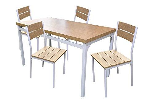 Coveri Set Tavolo + 4 Sedie da Giardino, Esterno, Terrazzo - Tavolo Rettangolare 110x70 x 75 m e Sedie in Legno Noce