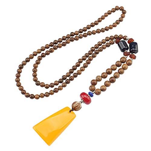 ZHONGGOZZ Collar con colgante de cuentas de madera étnica retro hecho a mano, cadena larga de suéter N020 (color de metal: no 005)