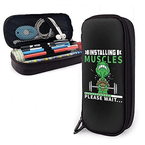 mengmeng Federmäppchen aus Leder, für Muskeltraining, mit großer Kapazität, Stifttasche, Schreibwaren-Organizer mit Reißverschluss, Aufbewahrungsbox, Make-up-Tasche, Kosmetiktasche