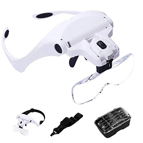 WeLead Magnifying Glass with LED Light Head Mount Magnifier Bracket and Headband Reading Magnifier Handsfree Jewelry Watch Electronic Magnifiers, Interchangeable Lenses 1.0X, 1.5X, 2.0X, 2.5X, 3.5X