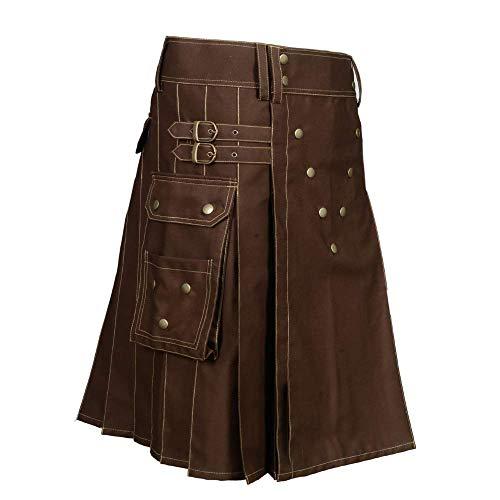 Scottish Designer Utility Kilts for Men Black Cotton Kilt Color & Size Options Available (Brown, Belly Button 34)