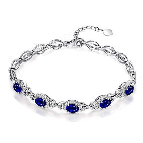 Epinki Mujer 18K Oro Blanco Pulsera 0.46CT Ovalada Forma Zafiro Diamante Encanto Pulsera para Boda