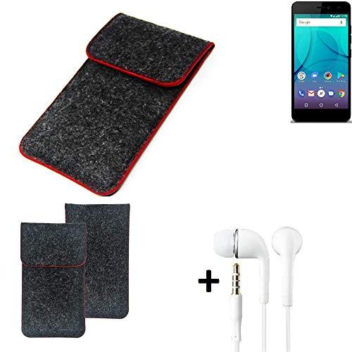 K-S-Trade Handy Schutz Hülle Für Allview P7 Lite Schutzhülle Handyhülle Filztasche Pouch Tasche Hülle Sleeve Filzhülle Dunkelgrau Roter Rand + Kopfhörer
