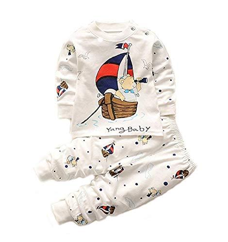 Bold N Elegant - Be Bold Inside & Elegant Outside Cool Bear Cartoon Printed Little Boy Girl Baby Clothing High-waist Stripe Pyjama T-shirt Pant Set for Baby Kids (White, 2-3 Years)
