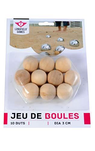 Engelhart - 010144 - 10 kleine Zielkugeln aus Holz - Maße je Kugel: Ø 3 cm - jeu de boules