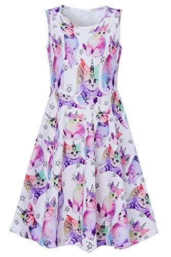 chicolife mädchen Cartoon Tier Kleid bunten Katzen gedruckten Kleid Sommer ärmellose Kleid
