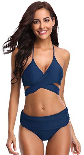 SHEKINI Damen Dunkle Farbe Geteilter Badeanzug Push Up Bikini Set Neckholder Bikini Oberteil Mit High Waist Bikini Bottom Damen Badeanzug Sport Zweiteiliger Badeanzug (XL, Königsblau)