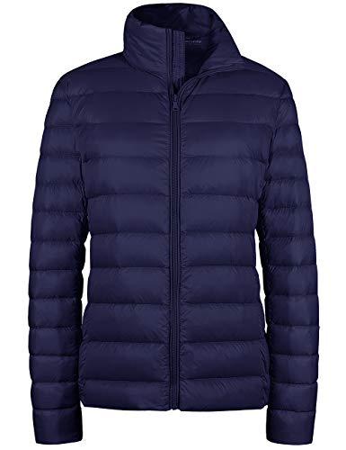 Wantdo Stand Collar Outwear Packable Ultra Light Weight Down Coat Navy X-Small