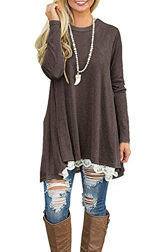 NICIAS Damen Lange Ärmel T-Shirt Pullover Rundhals Spitze Tunika Top Lässige Oberteil Bluse Shirt Kaffee, Medium