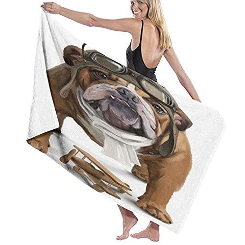 NANITHG Telo Mare Antisabbia Bulldog inglese aviatore pittura ad acquerello animali fauna selvatica cane carino cucciolo sciarpa serio Asciugamano da Spiaggia Asciugatura Rapida,Nuoto,Campeggio