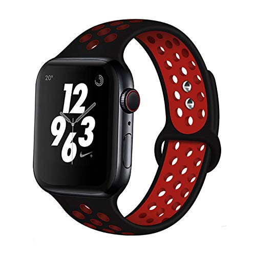 AIGENIUS Compatible with Apple Watch Band Strap 42mm 44mm, Soft Silicone Sport Breathable Replacement Band Strap with 2 Metal Buckles Work on Apple Watch Series 5/4/3/2/1 (42/44mm ML, Black&Red)