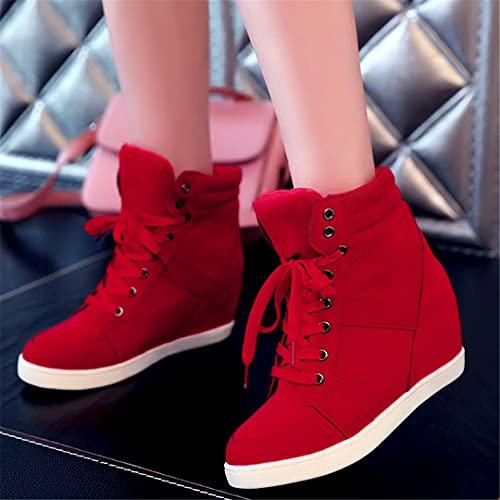 Oceansee Otoño Mujeres Botas Faux Suede Cuero Plataforma Plataforma Botas Shoes Hidden Tacón Sneaker High Top Sneaker Casual Zapatos para Mujer Tobillo Bota Red 5