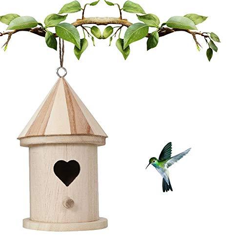 Further - Casetta per uccellini, per bricolage, in legno naturale, decorativa, in legno, sospesa, per piccoli uccelli, bricolage, gabbia per uccelli, fabbricazione o decorazione Une