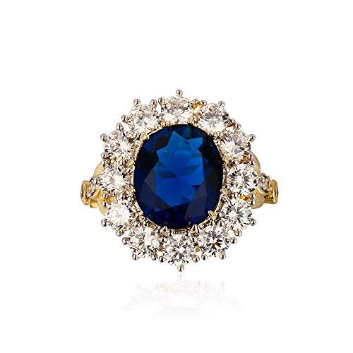 IWINO ontwerp romantische luxe ring gouden kleur met 13X18mm grote ovale saffier edelstenen mode fijne sieraden