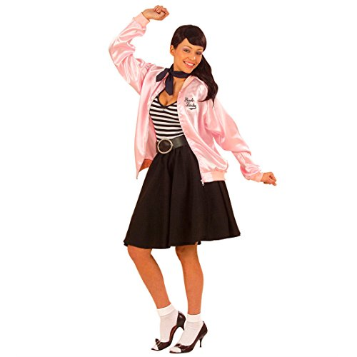 NET TOYS Veste de Grease Veste Pink Lady Veste de Sport Rose XL 46/48 années 50 années 60 Veste Grease Veste Rock n Roll déguisement