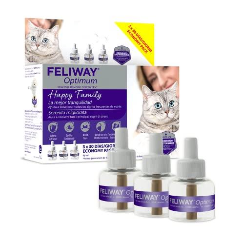 FELIWAY Optimum - Nueva Generación de Feromonas - Soluciona Todos los Signos de estrés del Gato - Arañazos, miedos, Cambios, marcaje con orina y conflictos Entre Gatos (3 recambios)