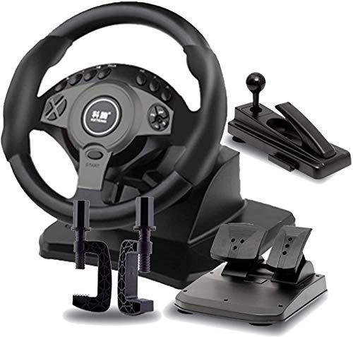 QDY Juego de conducción Volante, simulador de Coche con Pedales y Freno de Mano, Volante de simulación de rotación de 900 °, Apto para PC/portátil, Negro