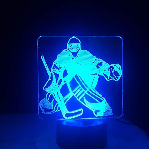Eishockey-Torwart Led 3D-Nachtlicht Für Kinder Mit Fernbedienung 16 Farbwechsel- Und Dimmbaren Funktionen Nachttischlampe, Weihnachtsgeburtstagsgeschenke Für Mädchen Mann Kind