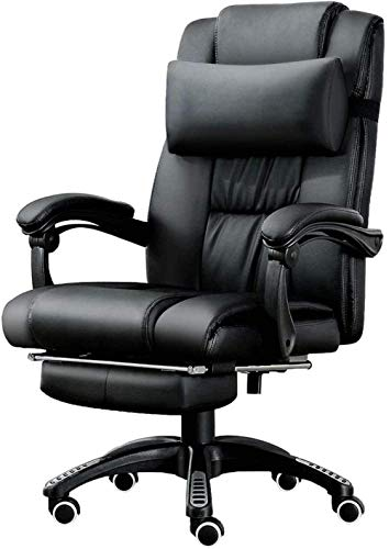 Office Chair Computer Chair Swivel Leather Desk Chair with Padded Footrest and Lumbar Cushion Ergonomic Recliner Height Adjustable Black
