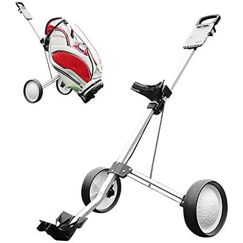 Push Pull Golf Cart, Chariot de Golf 2 Roues Pliant léger voiturettes de Golf avec poignée réglable Angle, Tableau de Bord, Frein à Pied, Une Seconde pour Ouvrir et Fermer